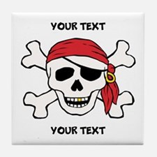 PERSONALIZE Funny Pirate Tile Coaster