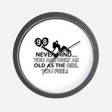 98th year old birthday designs Wall Clock