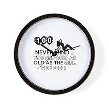 100th year old birthday designs Wall Clock