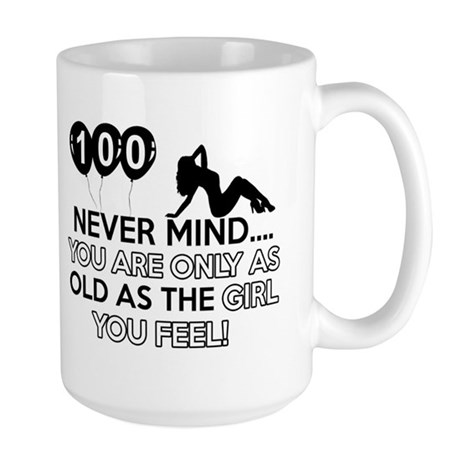 100th year old birthday designs Large Mug