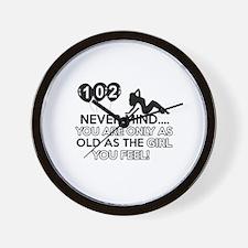 102th year old birthday designs Wall Clock
