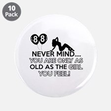 """88th year old birthday designs 3.5"""" Button (10 pac"""