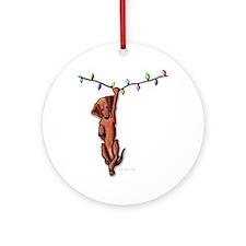 Dangling Dachsie Ornament (Round)