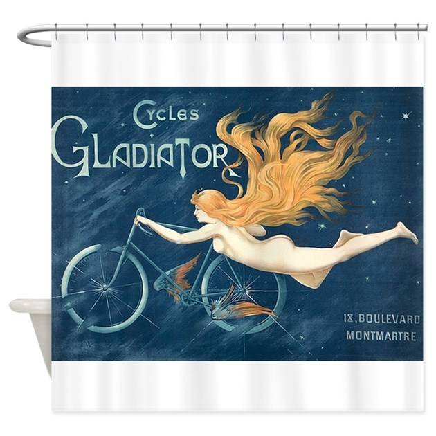 Cycles gladiator bicycle vintage poster shower c by for Kitchen colors with white cabinets with tandem bike wall art