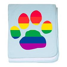 Gay Pride Rainbow Paw Print baby blanket
