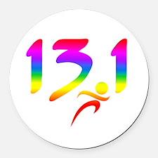 Rainbow 13.1 half-marathon Round Car Magnet
