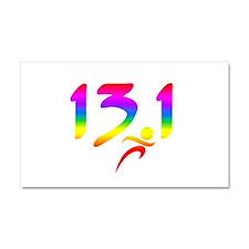 Rainbow 13.1 half-marathon Car Magnet 20 x 12