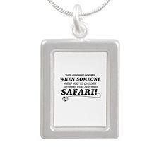 Funny Safari designs Silver Portrait Necklace
