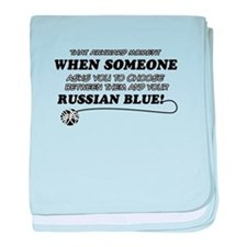 Funny Russian Blue designs baby blanket