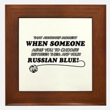 Funny Russian Blue designs Framed Tile