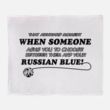 Funny Russian Blue designs Throw Blanket
