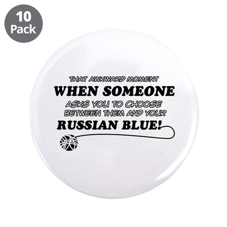 "Funny Russian Blue designs 3.5"" Button (10 pack)"