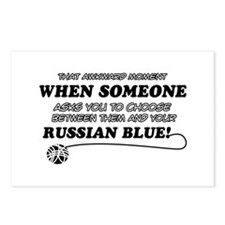 Funny Russian Blue designs Postcards (Package of 8