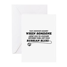 Funny Russian Blue designs Greeting Cards (Pk of 1