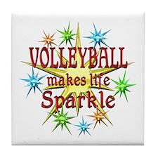 Volleyball Sparkles Tile Coaster