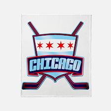 Chicago Hockey Flag Logo Throw Blanket