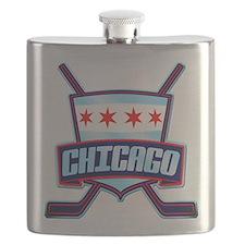 Chicago Hockey Flag Logo Flask