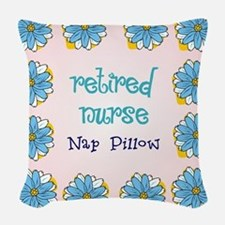 retired nurse nap pillow Woven Throw Pillow