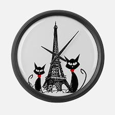 Cats Eiffel Tower Pillow Large Wall Clock