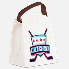 Chicago Hockey Flag Logo Canvas Lunch Bag