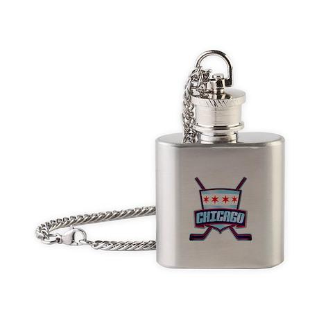 Chicago Hockey Flag Logo Flask Necklace