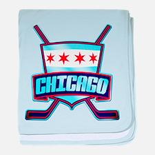 Chicago Hockey Flag Logo baby blanket