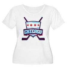 Chicago Hockey Flag Logo Plus Size T-Shirt