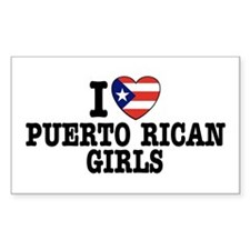 I Love Puerto Rican Girls Rectangle Decal