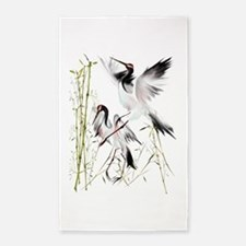 Crane In Bamboo Trans.png 3'x5' Area Rug