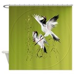 Two Cranes In Bamboo-Circle.png Shower Curtain