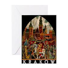 Vintage Krakow Poland Travel Greeting Card