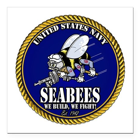 """USN Seabees Gold Roped Square Car Magnet 3"""" x 3"""""""