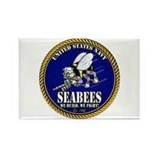USN Seabees Gold Roped Rectangle Magnet