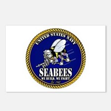 USN Seabees Gold Roped Postcards (Package of 8)