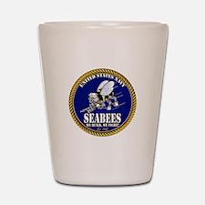 USN Seabees Gold Roped Shot Glass