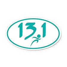 Teal 13.1 half-marathon Oval Car Magnet