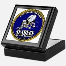 USN Seabees Gold Roped Keepsake Box