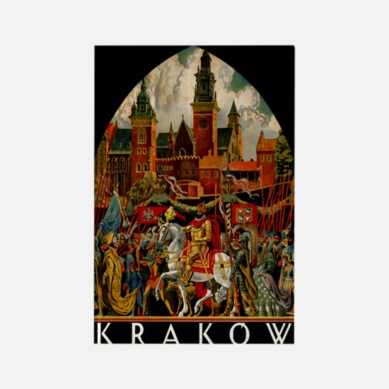 Vintage Krakow Poland Travel Rectangle Magnet