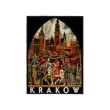 Vintage Krakow Poland Travel 5'x7'Area Rug