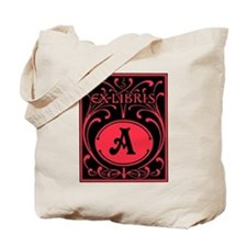 Book Bag with Vintage Bookplate Letter A Tote Bag