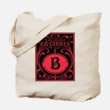 Book Bag with Vintage Bookplate Letter B Tote Bag