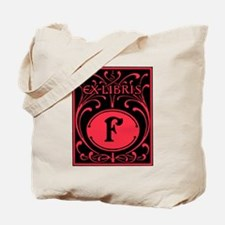 Book Bag with Vintage Bookplate Letter F Tote Bag