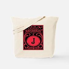 Book Bag with Vintage Bookplate Letter J Tote Bag