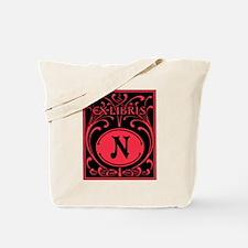 Book Bag with Vintage Bookplate Letter N Tote Bag