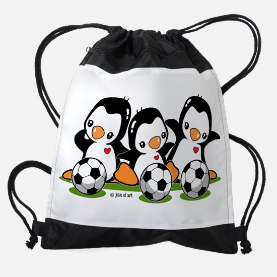 Soccer Penguins Drawstring Bag