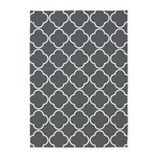 Charcoal Gray Quatrefoil Clover Pattern 5'x7'Area