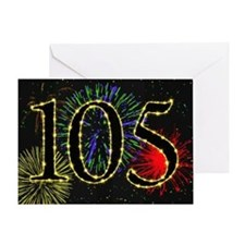 105th Birthday card with fireworks Greeting Card