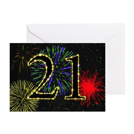21st birthday with fireworks Greeting Cards (Pk of