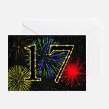 17th birthday with fireworks Greeting Card