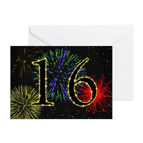 16th birthday with fireworks Greeting Cards (Pk of